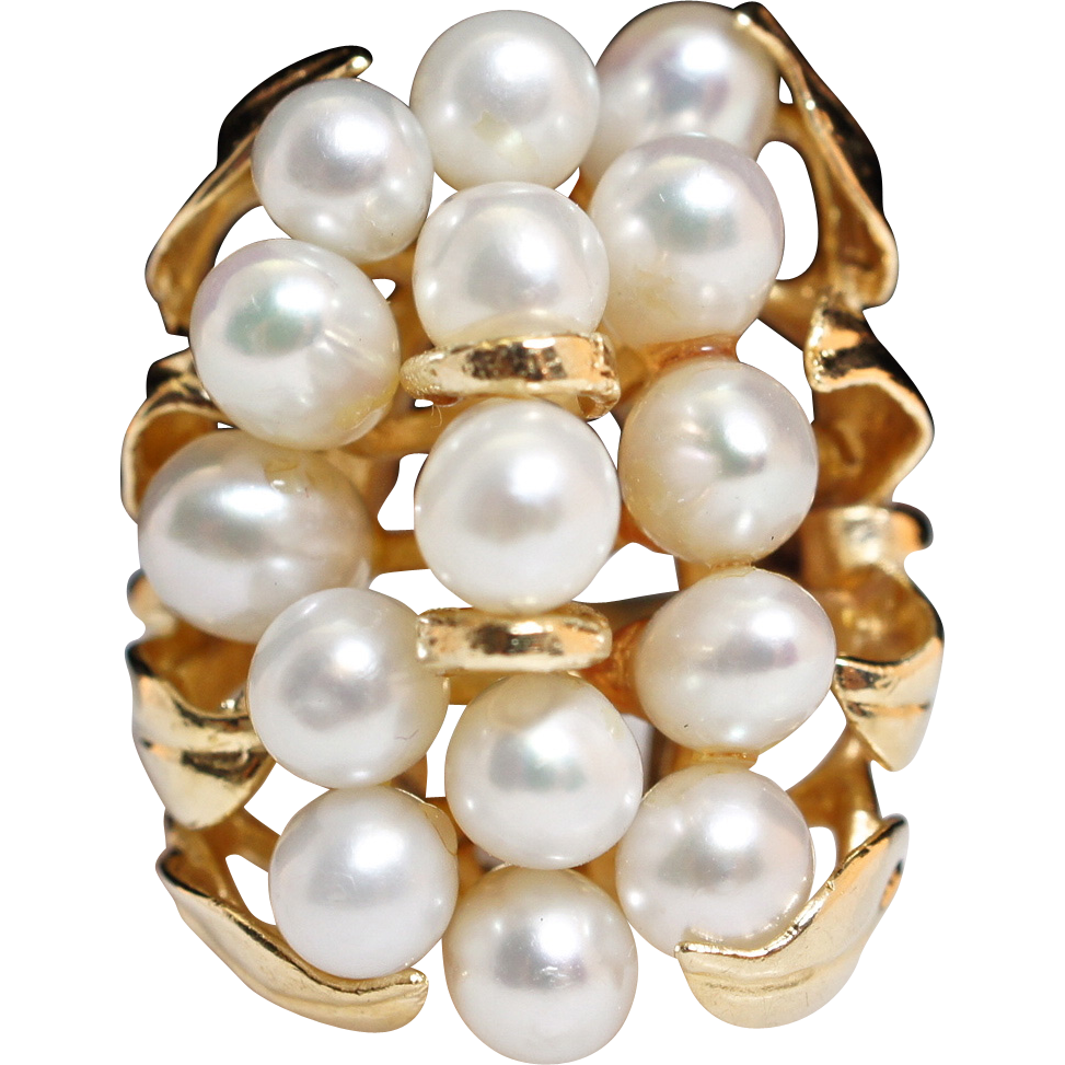 Vintage Cultured Waterfall Cluster Pearl Ring 14k Yellow Gold