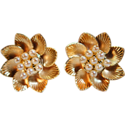 Golden Bloom - Vintage Cultured Pearl Flower Stud Earrings