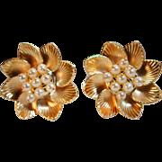 Golden Bloom - Vintage Cultured Pearl Flower Stud Earrings