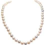 Elegant Cultured Pearl Necklace Peach Colored Pearls 14k Yellow Gold Simple Pearl Jewelry