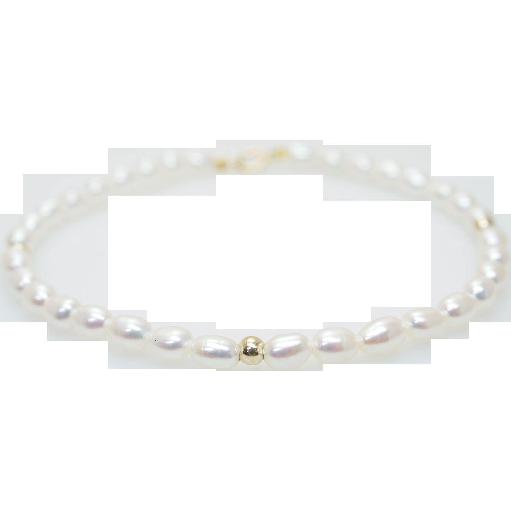 Dainty Cultured Freshwater Pearl Bracelet Simple Delicate Bracelet Small Simple Ivory Bracelet