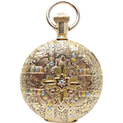 Antique 1894 Elgin Pocket Watch 14k Yellow, White, & Rose Gold