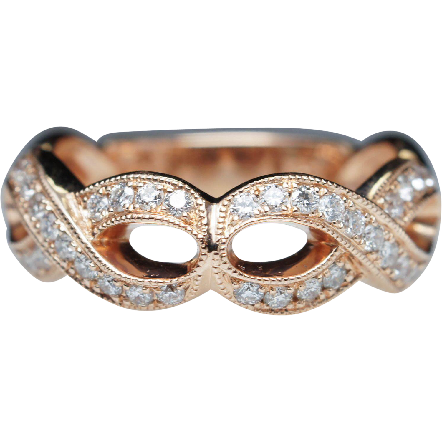 Rose Gold Open Weave Diamond Ring Anniversary Band Ring