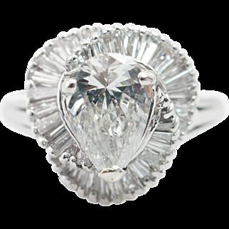 Platinum 1.83CTW Pear Shape & Baguette Cut Diamond Engagement Ring