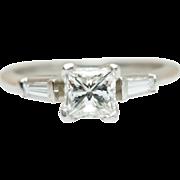 Platinum .80CTW Princess Cut Diamond Engagement Ring with Baguette Cut Accents