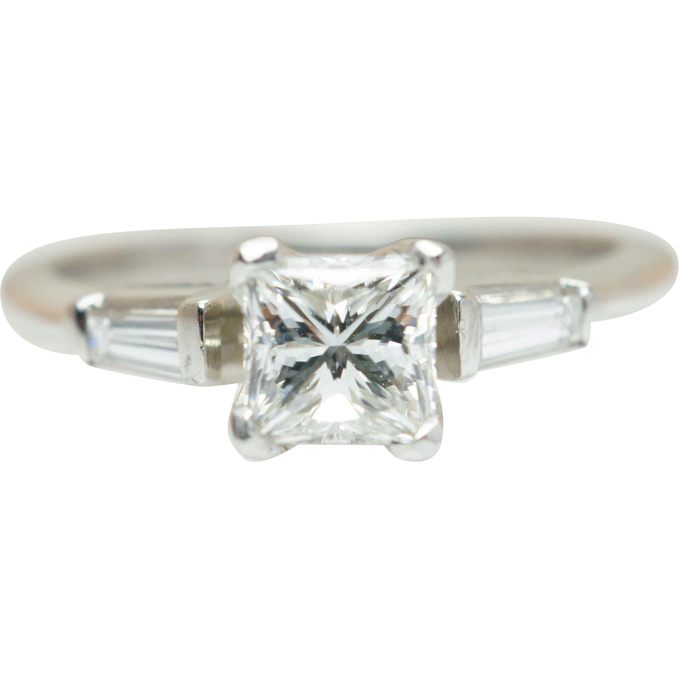 Platinum .80CTW Princess Cut Diamond Engagement Ring with Baguette Cut Accents