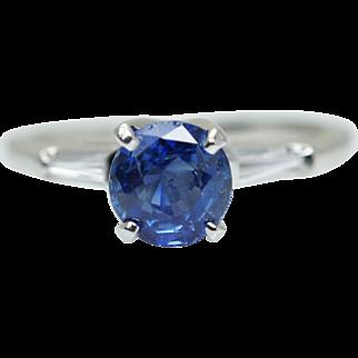 Vintage 1.27CTW Oval Sapphire & Diamond Platinum Engagement Ring