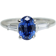 Vintage 1.63CTW Oval Sapphire & Baguette Diamond Platinum Engagement Ring