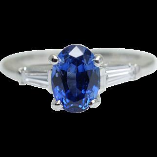 Vintage 1.63CTW Oval Sapphire & Baguette Diamond Platinum Engagement Ring