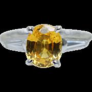 Vintage 1.95CTW Yellow Sapphire & Baguette Cut Diamond Platinum Engagement Ring