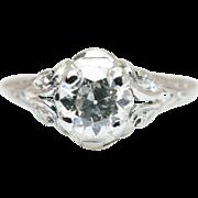 Platinum .62CTW Old European Cut Art Deco Engagement Ring