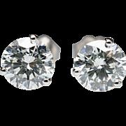 2ctw Natural Diamond Stud Earrings in 14k White Gold