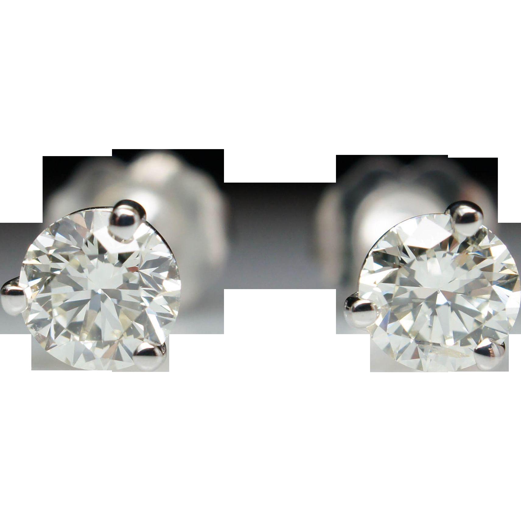 3/4ctw Diamond Stud Earrings in 14k White Gold
