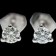 Cute 1/4ct Diamond Stud Earrings in 14k White Gold