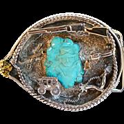 Unique Vintage Sterling Silver, Turquoise, & Gold Nugget John Wayne Belt Buckle