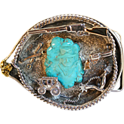 Unique Vintage Sterling Silver & Turquoise John Wayne Belt Buckle