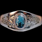 Vintage Sterling Silver Blue Glass Solitaire Bangle Bracelet