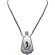 Antique Edwardian Sterling Silver Perfume Bottle Necklace