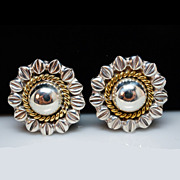 Vintage Sterling Silver & Brass Mexican Sunflower Stud Earrings