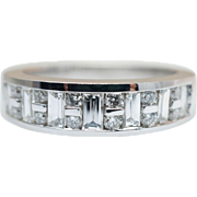 Vintage .90CT Natural Baguette & Round Cut Diamond Anniversary Band 14k White Gold
