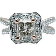 Elegant Vintage Style Princess Cut Diamond Engagement Ring 14k White Gold