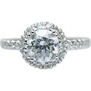 1.31CT Diamond Halo Engagement Ring in 14k White Gold