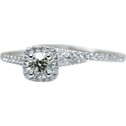GIA Round Diamond Halo Engagement Ring & Wedding Band Bridal Set in 14k White Gold Jewelry