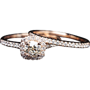 Old European Cut Diamond Halo Engagement Ring & Wedding Band Bridal Set 14k Rose Gold Eco Friendly Vintage Inspired