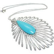 Exquisite Large Open Weave Teardrop Shape Natural Turquoise & Diamond Pendant in 14k White Gold