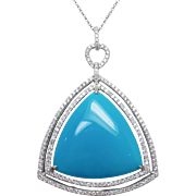 Triangle Shape Turquoise with Double Halo Diamond Pendant 14k White Gold