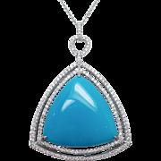 Triangle Shape Turquoise with Double Halo Diamond Pendant 14k White Gold