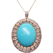 Turquoise & Diamond Solitaire Pendant in 14k Rose Gold