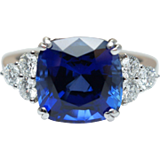 Synthetic Cushion Cut Sapphire Cocktail Ring with Diamond Accents 18k White Gold