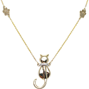 Diamond Cat Pendant with Paw Chain 14k Yellow Gold Animal Jewelry
