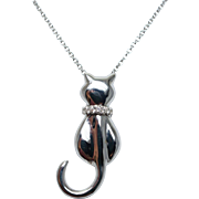 Diamond Cat Pendant Necklace in 14k White Gold