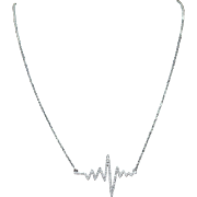 14k White Gold Custom Natural Diamond Heartbeat Pendant Jewelry