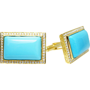 Mens Sleeping Beauty Turquoise & Diamond Cuff Links in 14k Yellow Gold Cufflinks