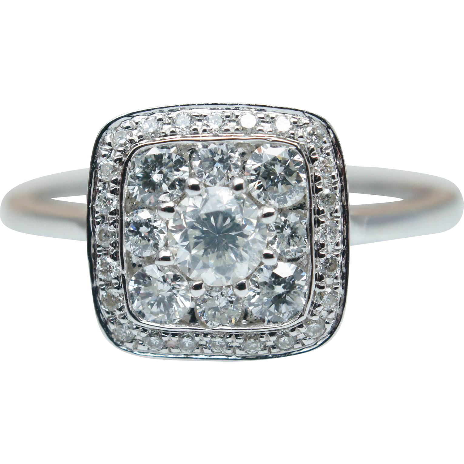 Solitaire Cluster Diamond Engagement Ring in 14k White Gold