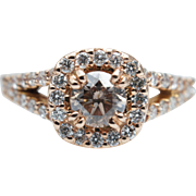 .93CT Light Brown Diamond Engagement Ring 14k Rose Gold