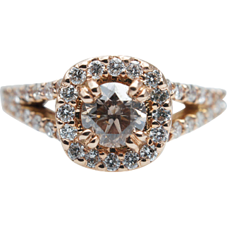 .93CT Light Brown Diamond Engagement Ring 14k Rose Gold