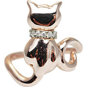 Cat Ring with Diamond Accent Collar in 14k Rose Gold