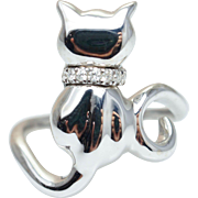 Diamond & Gold Cat Ring in 14k White Gold Pet Animal Jewelry