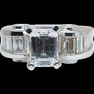 1.55CTW Baguette Cut Diamond Semi Mount 14k White Gold