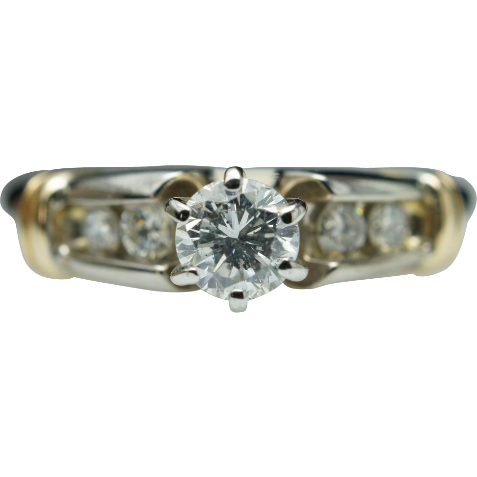 Vintage .47ctw Natural Round Diamond Solitaire Engagement Ring - Size 5 - 14k Yellow & White Gold