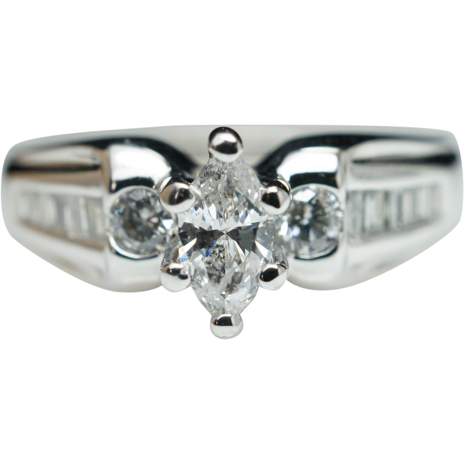 Vintage .59ct Marquise Cut Three Stone Diamond Engagement Ring in 14k White Gold - Size 6