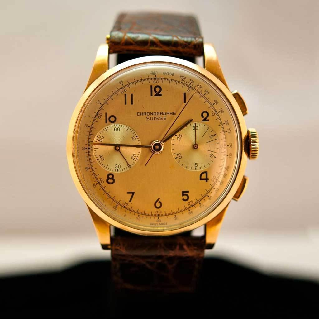 Vintage Mens 18k Rose Gold Chronographe Suisse Watch