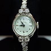 Vintage Ladies Hamilton Diamond Watch Wristwatch - 14k White Gold