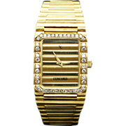 Vintage Concord Dameuri Watch 18k Yellow Gold Diamond Wristwatch