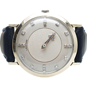Vintage Mens Longines Wrist Watch 14k White Gold & Diamond