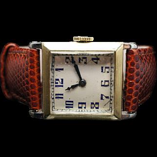 Vintage Mens 1928 Art Deco Elgin Wrist Watch 18k Yellow Gold Case